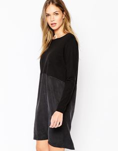 """Dress by Selected Contrast, fine knit top Boat neckline Silky-feel, woven skirt Loose fit - falls loosely over the body Machine wash 83% Cotton, 17% Nylon Our model wears a UK S/EU S/US XS and is 178cm/5'10"""" tall"""