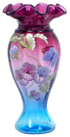 """*FENTON ART GLASS ~ 2009, limited Edition, Mulberry Vase titled """"Passion for Pansies"""" by Susan Bryan. Limited + numbered pieces to 55."""
