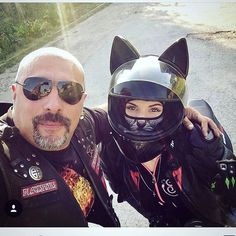 Your sensational love of CATS now available in Motorcycle Helmet Fashion. vented fronts of the ears allow wind to breath and you to purr. Lady Biker, Biker Girl, Cafe Racer Girl, Motorcycle Helmets, Cat Memes, Superhero, Leather, Young Men, Fictional Characters