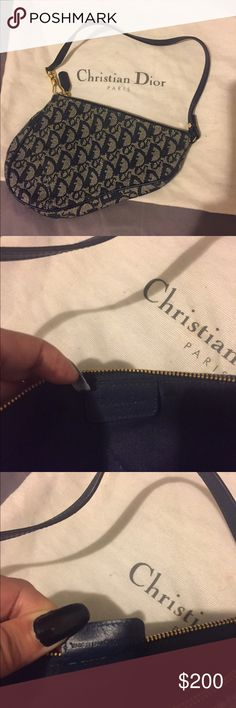 Christian Dior  handbag An authentic  Christian Dior handbag with Signature embroidery accents the exterior, and piping contours the curved silhouette. Used barely like new Christian Dior Bags Shoulder Bags