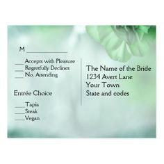 Green  Save the Date Menu RSVP Postcard  15% off #zazzle www.leatherwooddesign.com  #shop