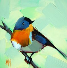 Robin no. 42 original bird oil painting by Moulton 6 x 6 inches on panel  prattcreekart