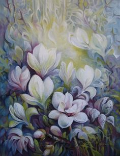 Artwork >> Elena Oleniuc >> #Magnolias (original sold ) #artwork, #masterpiece, #art, #painting, #flowers