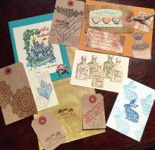 Rubber Stamp:Tokyo Antique, Workshop Samples.