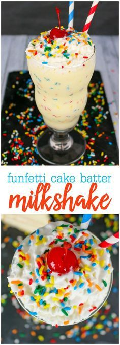 Milk Shakes, Funfetti Kuchen, Funfetti Cake, Yummy Treats, Sweet Treats, Yummy Food, Köstliche Desserts, Dessert Recipes, Recipes Dinner