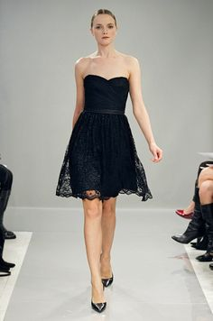 Short black bridesmaid dress from Monique Lhuillier Bridesmaids, Fall 2013
