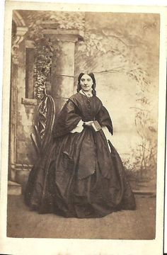 CDV Photo Beautiful Young Victorian Woman in Lovely Large Fashion Dress 1860'S | eBay