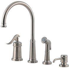 We have these faucets in the kitchen.  I love this set, though we did not use the soap dispenser and have a reverse osmosis water spigot in that spot. This is from the Ashfield series by Price Pfister.