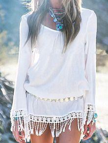 Vestido manga larga flecos suelto -blanco