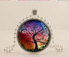 Rainbow Tree Of Life glass and metal Pendant necklace Jewelry. McKee Jewelry Designs