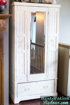 """Ivory Chalky Finish Vintage Armoire with Great """"Bones"""" Wonder if I could trim out that cedar closet that I have. Deco Furniture, Furniture Projects, Vintage Furniture, Home Projects, Painted Furniture, Armoire Makeover, Furniture Makeover, Vintage Armoire, Shabby"""
