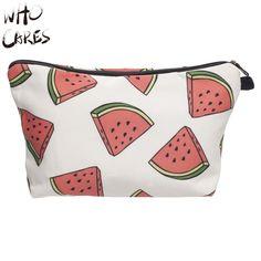 Who Cares Watermeloen 3D Printing Maken Tas Necessaire Vrouwen maleta de Maquiagem Cosmetica Tassen Travel Organizer Make Bag