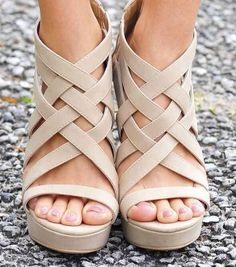 Fenced In Wedges: Sand.I like the fenced in part but I want in heels, not wedges Wedge Sandals, Wedge Shoes, Shoes Sandals, Sandal Wedges, Stilettos, High Heels, Cute Shoes, Me Too Shoes, Nude Wedges
