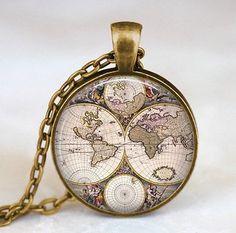 World map necklace, world map pendant, world map jewelry SUMMERTY NEW