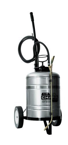 Chapin Industrial 6-Gallon Stainless Steel Cart Sprayer 6300 by Chapin. $322.95. Cart sprayer. 18-inches extension for easy reach; 6-gallon. Easy pull cart for getting to remote locations. Made of stainless steel. Metal tanks rinse cleaner for multi-use. From the Manufacturer                industrial special sprayers - staniless steel cart sprayer - 6 gallon                                    Product Description                Cart Sprayers