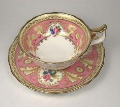 Elegant CAULDON English China Tea Cup & Saucer Pink and Gold Gilt Floral
