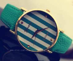 Modische Streifen Uhren unisex Uhren Party und von manualstorm, $5.59