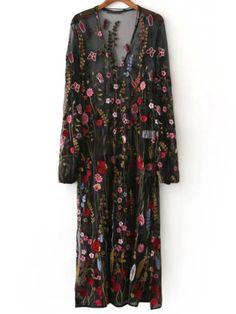 Maxi Kleid V-Ausschnitt Blumen Stickereien-schwarz