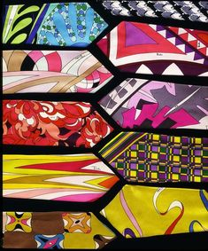"""Emilio Pucci, ties, printed silk, 1960s """" Most couturiers recognised the commercial possibilities in the popular demand for colourful neckwear. Emilio Pucci produced wonderful ties from his fabrics. """""""