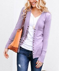 This Dusty Lavender Snap-Button Cardigan - Women is perfect! #zulilyfinds