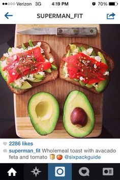 From Instagram : superman_fit  Bread  Feta Cheese Tomatoes  Avocados