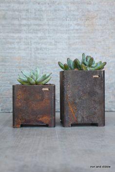 "Set of Two Square 3"" x 3"" Steel Indoor Outdoor Garden succulent metal planter on Etsy, $68.00"