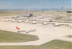 Toronto Pearson Airport and the new Air Canada terminal beyond the Aeroquay terminal used by the other airlines serving the airport.