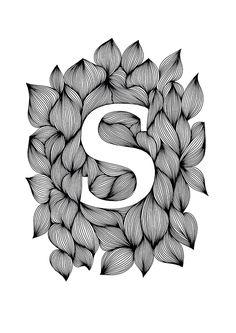 Ellen van de Sande - Palatino bold (Ink on paper, 21 x 30 cm) Name Drawings, Cool Art Drawings, Art Drawings Sketches, Monogram Wallpaper, Alphabet Wallpaper, Doodle Art Drawing, Mandala Drawing, Mandala Art Lesson, Doodle Art Designs