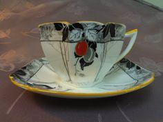 Shelley Art Deco Teacup Saucer Coral Damson by Lynnestreasures