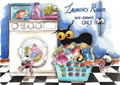 Original watercolor painting Stressie cat crow spider laundry room missing socks #IllustrationArt