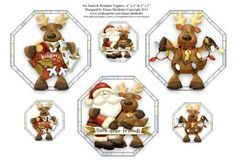 Six Santa Reindeer Toppers Three 4 x 4 Three 2 x 2  on Craftsuprint designed by Elaine Sheldrake - These fun Christmas toppers are perfect for quick card fronts and gift tags. - Now available for download!