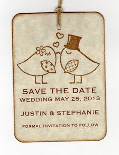 50 Save The Date Tags / Vintage Love Birds Kissing / Wedding Tags / Bridal Shower Tags. 37.50, via Etsy.