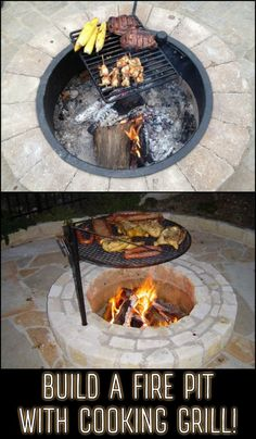 Build a fire pit with cooking grill in your backyard! Building a fire pit with cooking grill is a clever yet easy solution to adding functionality to a small backyard. Get some inspiration by heading over to our site now! Fire Pit Cooking Grill, Fire Pit Grill, Diy Fire Pit, Cooking On The Grill, Small Fire Pit, Gas Fire Pits, Cooking Corn, Cooking Games, Garden Fire Pit