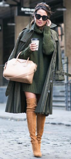 Sweater dresses + must have this season + cosy + comfortable + perfect for keeping warm + achieve you a winning fall style + Wendy Nguyen.  Coat: Junya Watanabe, Dress: Marissa Webb, Shoes: Stuart Weitzman, Bag: Givenchy.