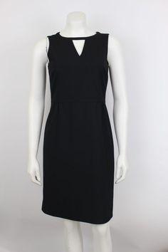 Ann Taylor Black Key Hole Sleeveless Shift Stretch Career LBD Dress Size 2 #AnnTaylor #ShiftDress #Work