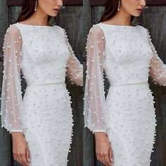 Sexy Gauze Spliced Long Sleeve Round Neck Slim Fit Beaded Dress - - Sexy Gauze Spliced Long Sleeve Round Neck Slim Fit Beaded Dress Source by sseemmaa Elegant White Dress, Classy Dress, Elegant Dresses, Beautiful Dresses, Formal Dresses, Beautiful Women, Dress Casual, Engagement Dresses, Little White Dresses