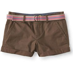 Aeropostale Prince & Fox Belted Beachcomber Twill Shorts ($14) ❤ liked on Polyvore featuring shorts, tunisian olive, olive shorts, aeropostale shorts, fox shorts, aéropostale and olive green shorts