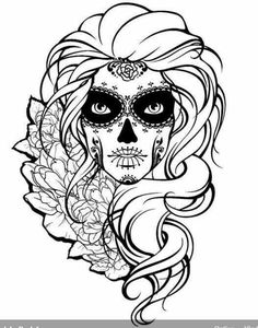 Skull girl and flowers. Black and white illustration animados de halloween para colorear Ähnliche Bilder, Stockfotos und Vektorgrafiken von woman with sugar skull makeup, day of the dead - 465946694 Skull Coloring Pages, Printable Adult Coloring Pages, Coloring Pages For Girls, Mandala Coloring, Coloring Pages To Print, Coloring Books, Sugar Skull Mädchen, Sugar Skull Tattoos, Sugar Skull Drawings