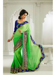 Georgette, Jacquard Green, Blue Party Wear Saree W
