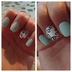 Summer mint nail art