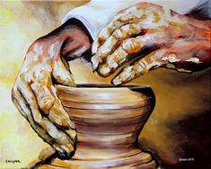 Potter Painting - Isaiah Sixty Four Verse Eight by Karl Wagner Christian Drawings, Christian Paintings, Christian Artwork, Bible Pictures, Jesus Pictures, Jesus Art, Jesus Christ, Jesus Painting, Prophetic Art