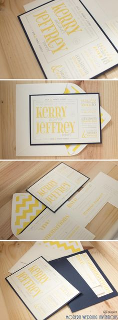 Kerry and Jeff's Wedding Invitations // modern wedding invitations // navy blue, yellow and grey Wedding Party Shirts, Wedding Stuff, Grey Wedding Invitations, Wedding Stationery, Wedding Ceremony Backdrop, Beach Ceremony, Wedding Cards Handmade, Wedding Dresses With Flowers, Trendy Wedding