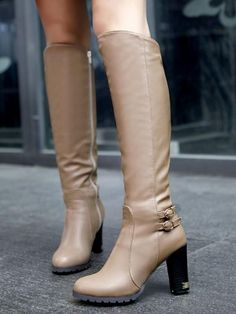 15b7fd810f4b New Khaki Round Toe Chunky Fashion Knee-High Boots