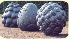 ~ Peter Randall  These three sculptures created by Randall look said they were inspired by nature, more specifically the fruits of nature. The patterns of the fruits have be exaggerated onto the surfaces of these three sculptures, all inspired by different fruits. The detail is strong and stands out. The simplicity of the deep lines, sticking out sections and swirls build character to each sculpture and makes them very individual.