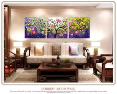 Modern oil painting art canvas wall decoration home gifts Painting & Calligraphy Acrylic Flowers Pachira Abstract painting-inPainting & Calligraphy from Home & Garden on Aliexpress.com