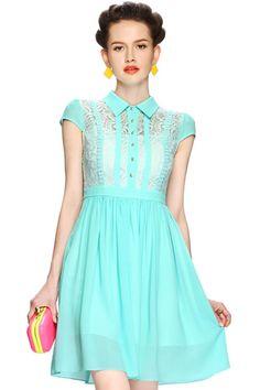 ROMWE | Buttoned Lace Embroidered Green Dress, The Latest Street Fashion #ROMWE