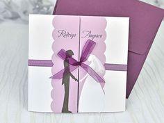Invitatii nunta Homemade Wedding Invitations, Carton Invitation, First Event, Gift Wrapping, Cards, Creando Ideas, Wedding Card, Wedding Cards, Invitation Cards