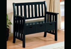 """Black Finish Bench With Three Storage Drawers by Coaster Home Furnishings. $148.17. 40 1/2""""L 19 1/2""""W 36""""H. Bedroom->Vanity Stools and Benches. Bedroom. Some assembly may be required. Please see product details.. Keep your entry way uncluttered with the useful storage offered by this three drawer bench. Three drawers suspended beneath the bench seat keep shoes, accessories, mittens and hats close at hand yet neatly out of sight. Built in handholds are the only embe..."""