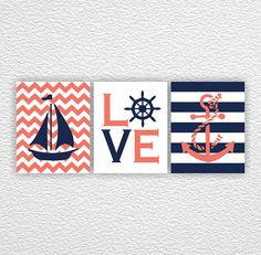 Nautical Nursery Anchor Sailboat Love Coral by myfavoritedecor