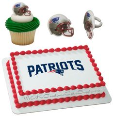This combo includes 1 New England Patriots Licensed Edible Wafer Cake Topper. Printed on a solid 8 x wafer sheet & ​ New England Patriot Helmet Cupcake Rings. Wafer paper has no backing and is slightly translucent. Edible Cake Toppers, Cupcake Toppers, New England Patriots Helmet, Nfl Party, 12 Cupcakes, Wafer Paper, Party Supplies, Amp, Printed